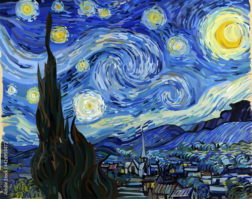 The Starry Night - Vincent van Gogh painting in Low Poly style. Conceptual Polygonal Vector Illustration - fototapety na wymiar