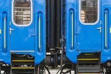 Truskavets, Ukraine - April 2021: Doors Of Passenger Train, Which Awaiting Departure On The Platform Of The Railway Station. Ukrzaliznytsia. Ukrainian Railways.
