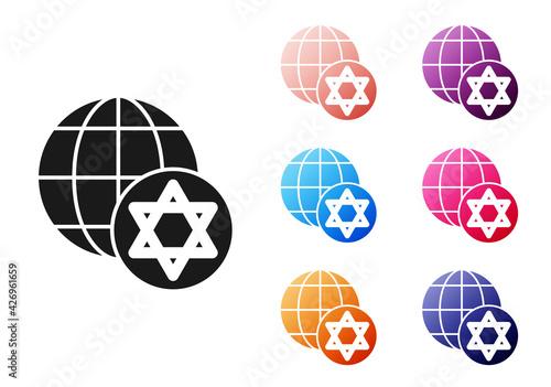 Fototapeta Black World Globe and Israel icon isolated on white background