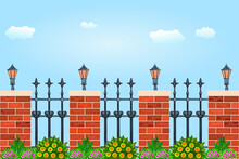 Metal Fence With Decorative Cast Iron Wrought, Pillars Of Bricks, Plant And Flashlights. Fence With Street Lamps Against The Sky. City Park Or Street Wall. Vintage Gate With Swirls.Vector Illustration