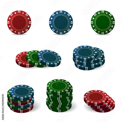 Foto Colorful bright casino chips for poker or roulette