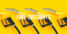 Filling Gun. Gas Refueling Nozzle 3d Render, Yellow Gadgets In Line For Fuel Discount Campaign On Bright Yellow Backdrop