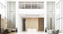 Reception Hall In Hotel The Ceiling Is High With Mezzanine View, There Is A Waiting Area. Decorate Chinese Style And Pattern Using Wood And Metal Materials With Reception Counter. 3d Rendering
