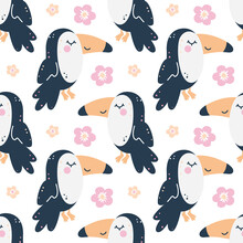 Childish Seamless Pattern With Toucans And Flowers.