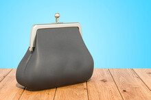 Black Purse On The Wooden Planks, 3D Rendering