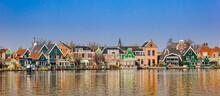 Panorama Of Traditional Dutch Houses At The Zaan River In Zaandijk, Netherlands