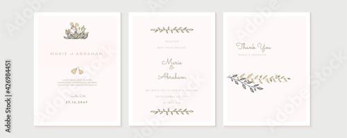 Obraz na plátne Wedding floral golden invitation card save the date design with pink flowers