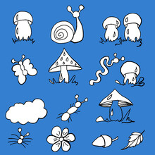 Forest Fruits, Forest Dwellers, Mushrooms, White Mushrooms, Russula Mushrooms,toadstools, Chanterelles, Worms, Snails, Butterflies, Grass, Ants, Print For Printing On A Backpack, Print For Printing On