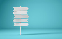 Crossroads Signpost White On Blue Background. 3d Rendering