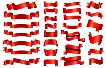 Red Silk Ribbon Banners. 3d Curved And Spiral Glossy Ribbons For Congratulation, Opening, Gift Or Festive. Satin Decorative Band Vector Set