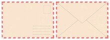 Blank Retro Postal Envelope. Old Vintage Air Mail Letter. Craft Paper Correspondence Envelopes Back And Front View Realistic Vector Mockup