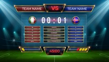 Soccer Scoreboard. Football Match Score And Goal Statistic Table. Realistic Stadium Grass Field With Vector Display Screen For Game Results