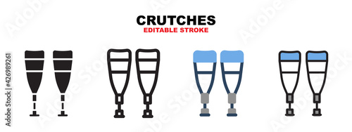 Valokuva Crutches icon set with different styles