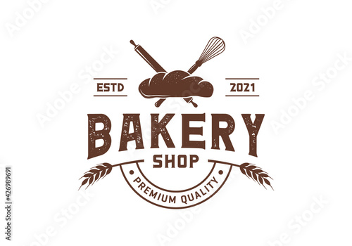 Billede på lærred Whisk and rolling pin, bakery logo design inspiration template