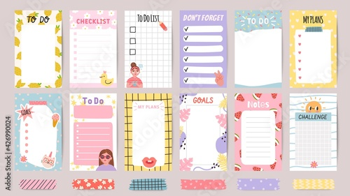Obraz Planner list notes. Weekly to do lists and daily schedule with stickers and cute patterns. Checklist for goals and plans template vector set - fototapety do salonu