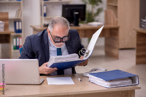 Cuadros en Lienzo Old male employee auditor wearing many glasses at workplace