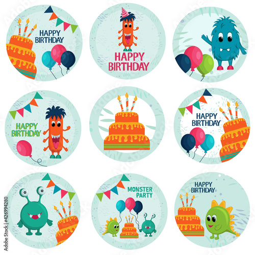 Happy birthday vector design with monster. Round elements typography for decoration celebration, candy bar. For kids party and celebration. Vector illustration.