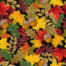 Seamless Pattern Background With Leaves And Walnut