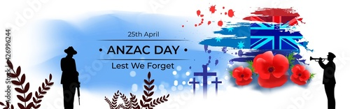 Fototapeta Vector illustration concept of Anzac Day with poppy flowers. 25 April. National remembrance day in Australia and New Zealand. obraz