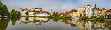 City Panorama Of Jundrichuv Hradec, A City With Castle Complex In South Bohemia, Czech Republic