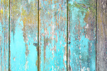 Vertical Wooden Planks Background With Teal Blue And Yellow Colored Old Weathered Planks With Chipped Paint