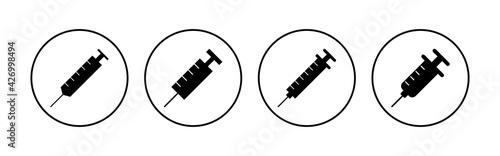 Valokuva Syringe icon set. injection icon vector.