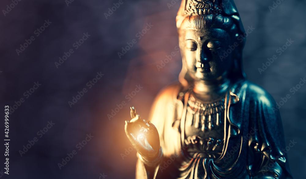 Buddha statue, zen meditation in yoga - obrazy, fototapety, plakaty