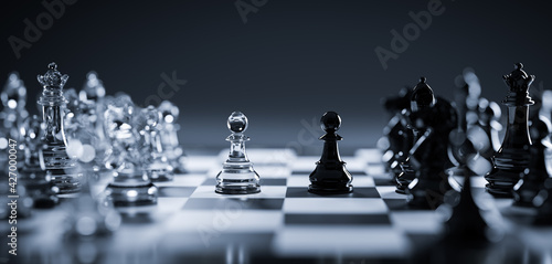 Chess game. Strategic desicion making. Plan and competition Fototapete