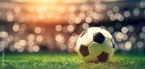 Football soccer ball on grass field on stadium Fototapet