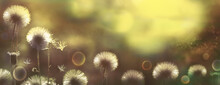 Panorama Of Nature. Vintage Style Blurred Natural Background. Fluffy Flowers