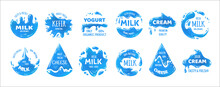 Milk Products Logo. Cheese, Cream And Yogurt Packaging Labels. Isolated Blue Stickers Set For Branding Food Containers. Emblems With Splashes And Drips. Vector Natural Organic Beverages