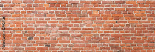 Canvas-taulu Red brick wall panoramic texture background