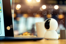 IP Camera, Home Automation Security System Digital Technology. Hi-tech Smart Gadget WIFI IoT Smart Home Online Apps Control.