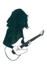 Dark Outline Of Rock Musician With Contrast Bass Guitar For Decoration Musical Instrument Shop, Songbook, Music Blog. Creative Graphic, Author's Design. Can Be Used As A Mock Tattoo Or Print.
