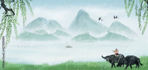 Fototapeta Landscape background illustration of Chinese style cowherd