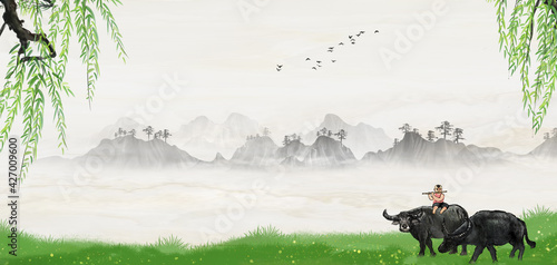 Fényképezés Landscape background illustration of Chinese style cowherd