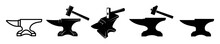 Vintage Anvil Icon For Blacksmith,  Blacksmith Tools Isolated On White Background, Vector Illustration.