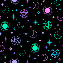 Mystical Esoteric Pattern With Sun, Moon And Magic Symbols