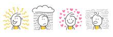 Strichfiguren / Strichmännchen: Sonne, Regen, Liebe, Wind. (Nr. 591)