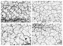 Set Of Cracked Earth Textures. Black And White Texture. Cracks On The Surface Of Dry Soil. Structure Of Cracked Ground.