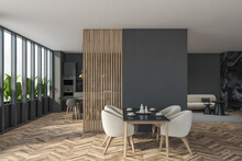 Dark Modern Dining Room Interior With Panoramic Window And Partition