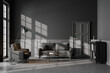 canvas print picture - Grey living room interior with armchair and sofa on concrete floor, mockup