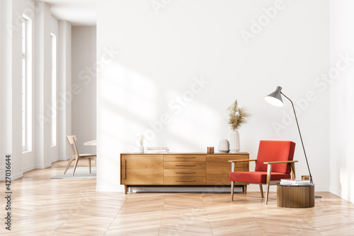 Fotografie, Obraz Bright contemporary waiting room interior with wooden sideboard