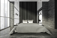 Grey Bedroom Interior With Bed, Panoramic Windows And Lamps