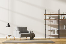 Beige Living Room Interior With Sofa And Bookshelf On Parquet Floor, Mockup