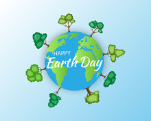 Earth Day.April 22.Banner Earth Day With A Planet Earth And A Trees. World Earth Day BackgroundWorld Saving,protection Family And Environment Concept.Globe.Vector.