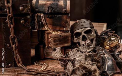 Slika na platnu Pirate with human skull