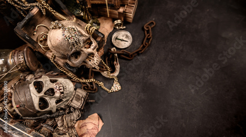 Fotografie, Obraz Pirate with human skull