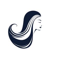 Beauty Salon Logo.Beautiful Woman Profile Portrait.Long, Wavy Hairstyle Icon.Sign For Spa, Aesthetics, Beautician, Hair Studio Business.Modern, Elegant, Luxury Style Hairdresser Symbol.Face Makeup.