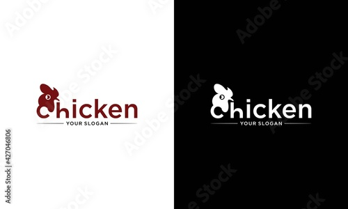 Canvastavla letter c and the Chicken logo. Farm animal symbol or label vector